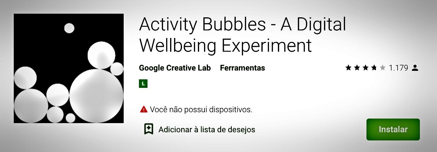 Interativo e dinâmico que funciona como um papel de parede cheio de bolhas, quanto mais usar o celular as bolhas vão ficando maiores
