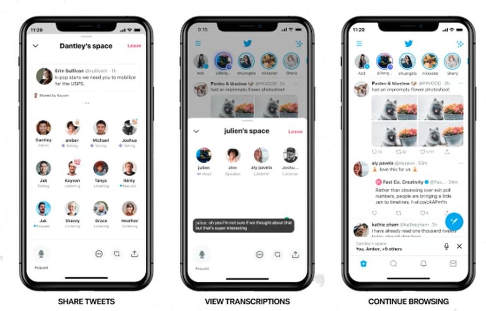 """Os Audio Spaces ou """"Espaços"""" do Twitter são uma seção à parte do app que permitem criar salas de bate-papo por voz"""