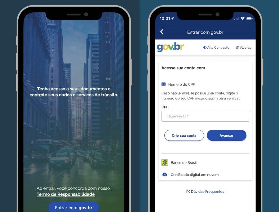 Login do app Carteira Digital de Trânsito
